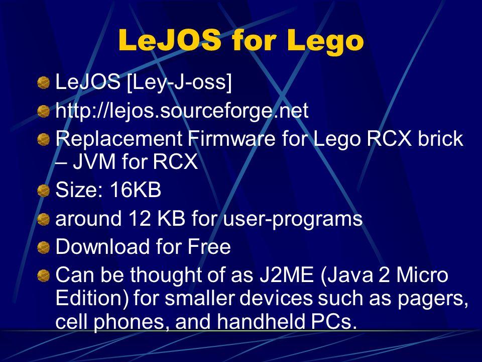 LeJOS for Lego LeJOS [Ley-J-oss] http://lejos.sourceforge.net